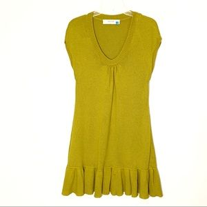 Anthropologie Sparrow Chartreuse knit dress Size M